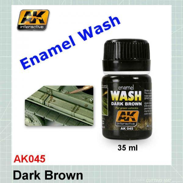 AK045 Dark Brown Wash for Green Vehicles