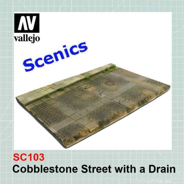 Cobblestone street with drain